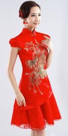Puff-sleeve Short-length Bridal Cheongsam (RM)