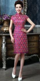 Cup-sleeve Short-length Embroidery Bridal Cheongsam (RM)