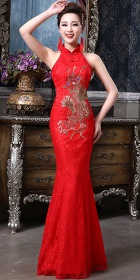 Cut-in Shoulders Bareback Long-length Bridal Cheongsam (RM)
