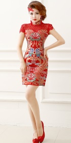 Cup-sleeve Short-length Prom/Bridal Cheongsam (RM)