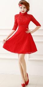 Elbow-sleeve Short-length Embroidery Bridal Cheongsam (RM)