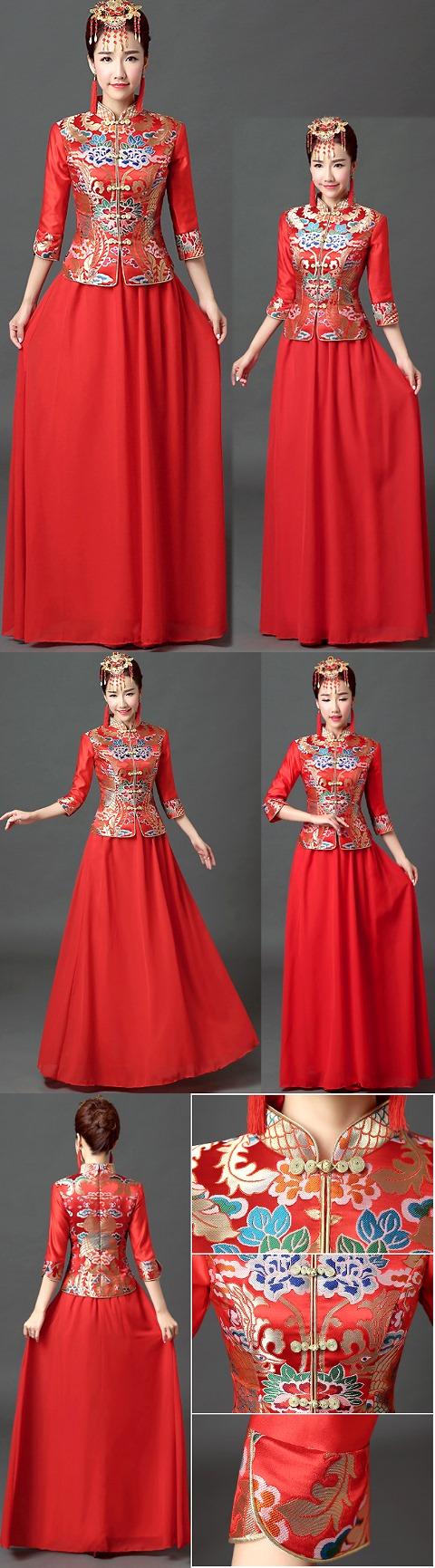 3/4-sleeve Long-length Prom/Bridal Cheongsam (RM)