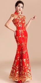 Elbow-sleeve Long-length Bridal Cheongsam (RM)