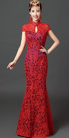 Long-length Embroidery Gauze Prom Cheongsam (RM)