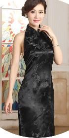 削肩露背織錦緞旗袍 (成衣)