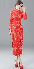長袖長身織錦緞旗袍 (成衣)