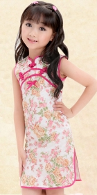 Girl's Sleeveless Floral Cheongsam Dress (RM)