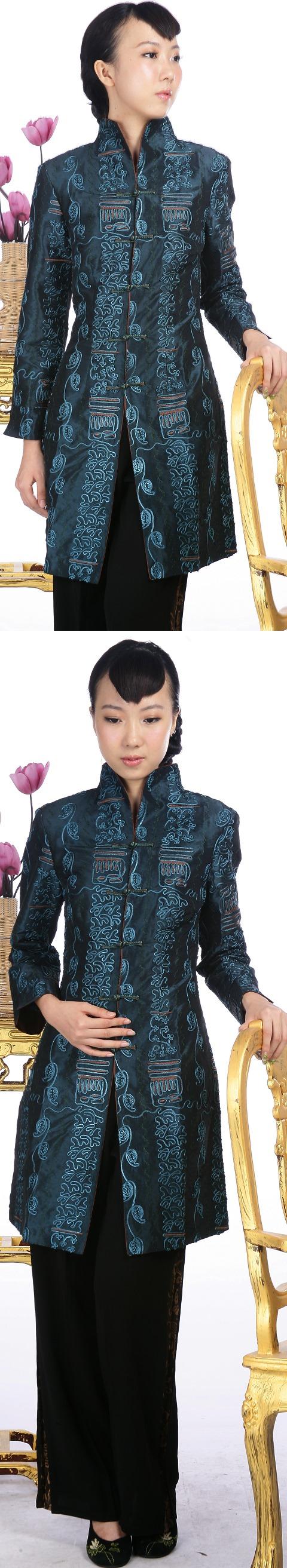 浮雕繡花中式長大衣(綠色)