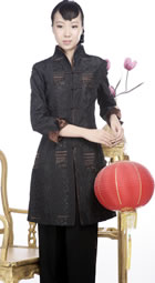 Embossed Embroidery Mandarin Coat (Black)