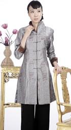 浮雕繡花中式長大衣(銀灰)