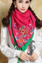 Versatile Ethnic Embroidery Cotton Linen Shawl - Red/Green