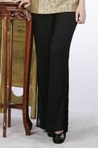 雙層薄紗長褲(黑色)