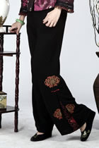 Side-pleated Mandarin Pants (Floral)