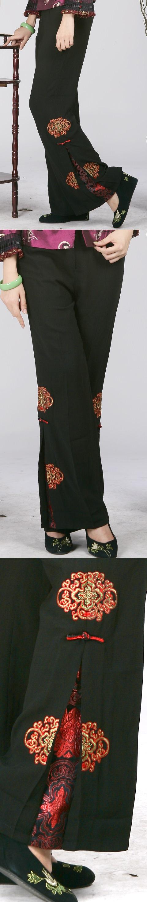 中式側襉長褲(富貴團花)