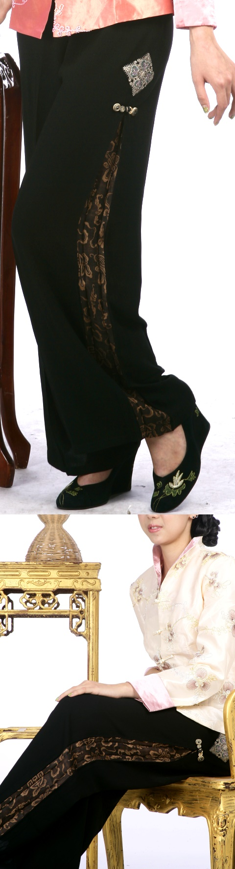 Side-pleated Mandarin Pants (Longevity)