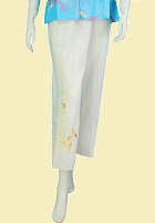 Floral Embroidery Pants (Beige)