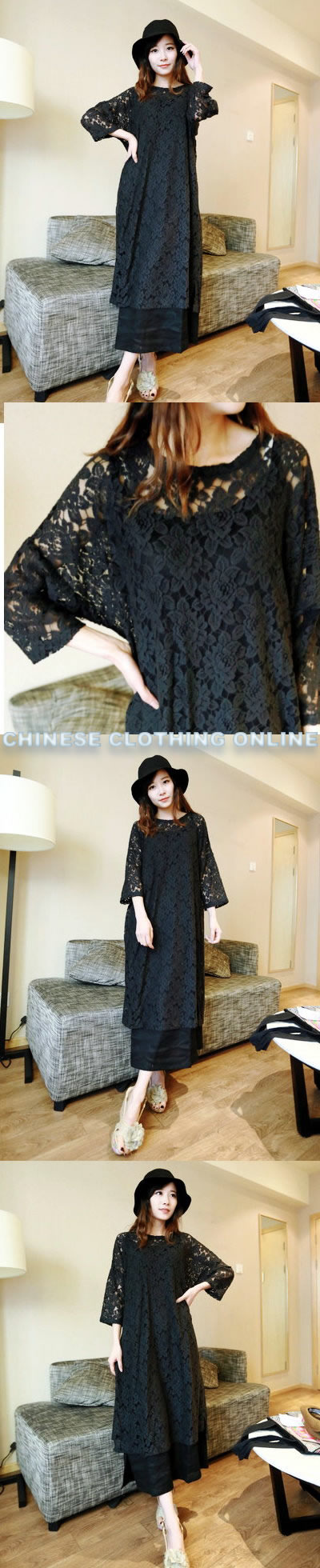 Ethnic Long-sleeve Embroidery Gauze Dual-layer Dress (CM)