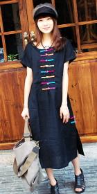 Ethnic Short-sleeve Round Neckline Loose Dress (CM)
