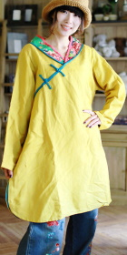 Ethnic Long-sleeve V Neckline Very Loose Dress (CM)