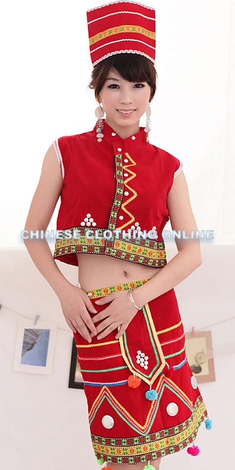 Chinese Ethnic Dancing Costume - Dai Zu | Li Zu | Wa Zu | Jingpo Zu