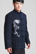 Mandarin Chenille Fabric Jacket with Embroidery Dragons (RM)