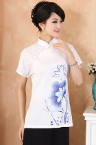 Hand-Painting Lotus Short-sleeve Chinese Ethnic Blouse (Ready-Made)