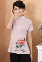 Hand-Painting Queyao Peony Short-sleeve Chinese Ethnic Blouse (Ready-Made)