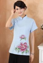 Hand-Painting Mudan Peony Short-sleeve Chinese Ethnic Blouse (Ready-Made)