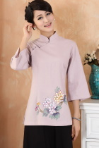 Hand-Painting Chrysanthemum 3/4-sleeve Chinese Ethnic Blouse (Ready-Made)