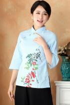 Hand-Painting Azalea 3/4-sleeve Chinese Ethnic Blouse (Ready-Made)