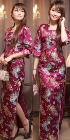 Elbow-sleeve Front Gauze Long-length Cheongsam (CM)