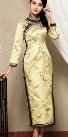 Elbow-sleeve Long-length Cheongsam (CM)
