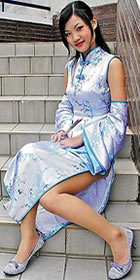 Sleeveless Long-length Cheongsam w/ Oversleeves (CM)