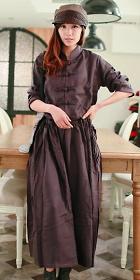 Ethnic Long-sleeve Standing Collar Loose Dress (CM)