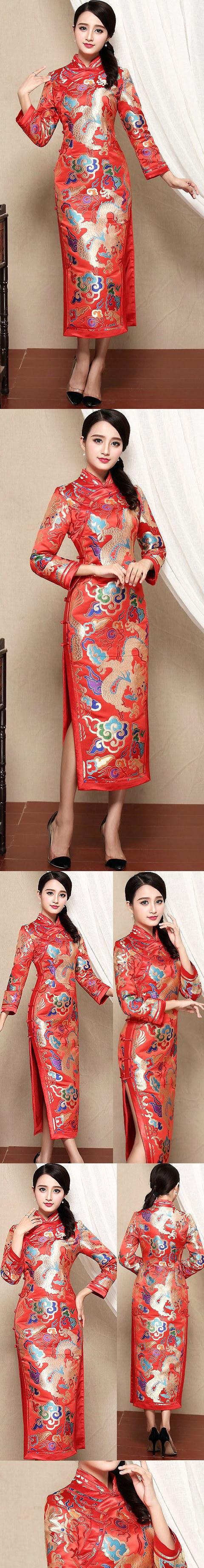 Long-sleeve Long-length Cheongsam (CM)