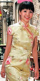 Cup-sleeve Slit Neckline Long-length Cheongsam (CM)