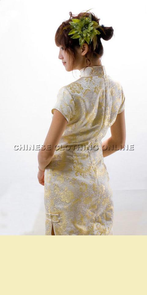 Cup-sleeve Diamond Neckline Long-length Cheongsam (CM)