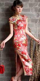 Short-sleeve Long-length Double-piping Cheongsam (CM)