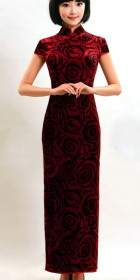 Short-sleeve Long-length Silk Velvet Cheongsam (CM)