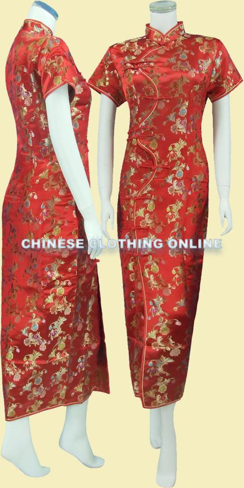 Short-sleeve Long Brocade Cheongsam Dress