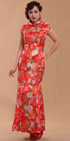 Cup-sleeve Long-length Fishtail Cheongsam (CM)