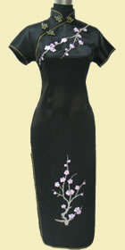 Bargain - Short-sleeve Long-length Brocade Cheongsam (Black)