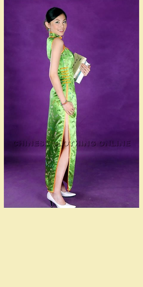 Sleeveless Triangular Neckline Long-length Cheongsam (CM)
