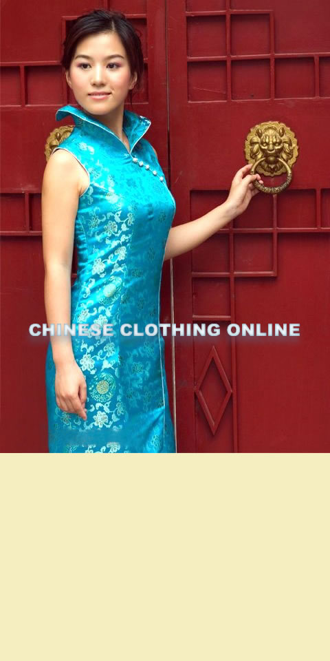 Sleeveless Foldable High Collar Front Slit Long-length Cheongsam (CM)