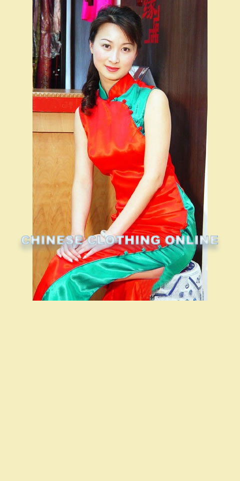 Sleeveless Dual-tone Long-length Cheongsam (CM)