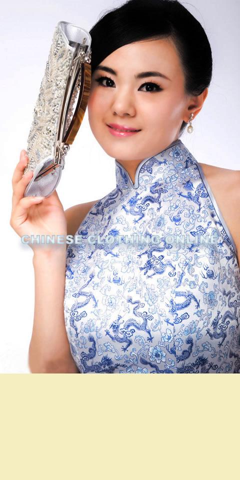 Cut-in Shoulders Slit Back Long-length Cheongsam (CM)