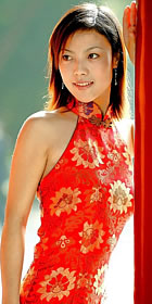 Cut-in Shoulders Bareback Long-length Cheongsam (CM)