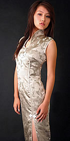 Sleeveless High Collar Front Slit Long-length Cheongsam (CM)
