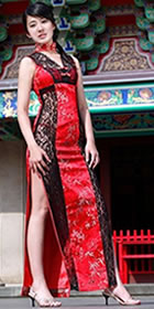 Sleeveless V-neck Long-length Cheongsam (CM)