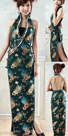Cut-in Shoulders Deep-V Bareback Long-length Cheongsam (CM)